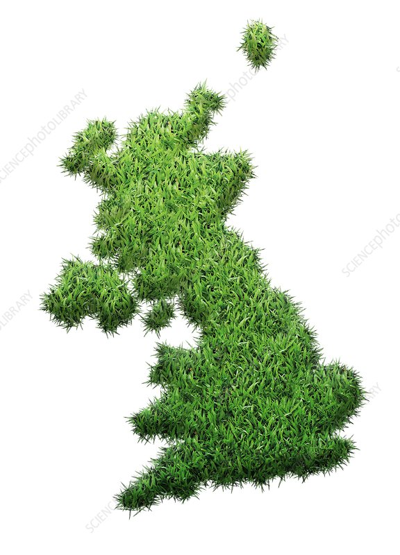 British Isles made from grass