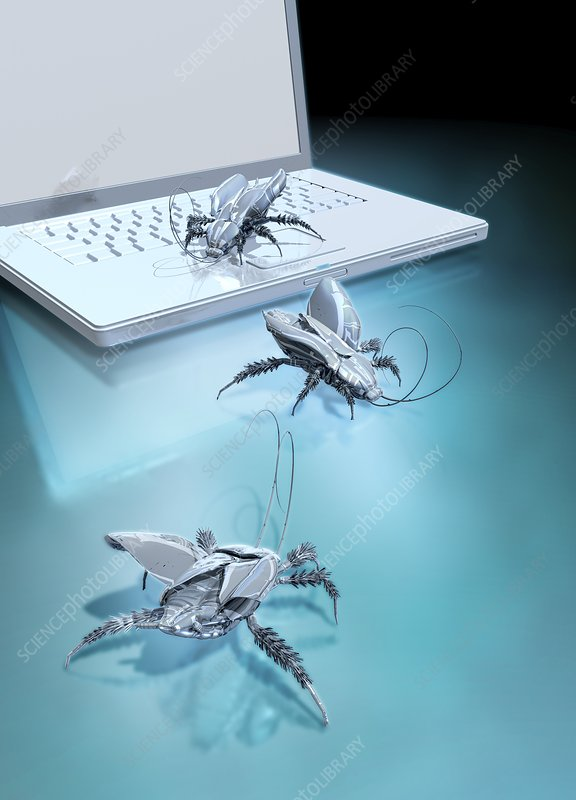 Robotic bugs and a laptop, illustration