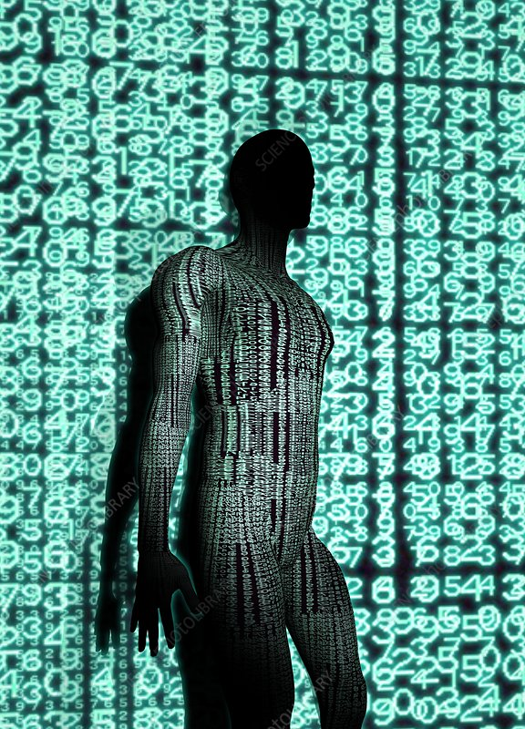 Person with binary code, illustration
