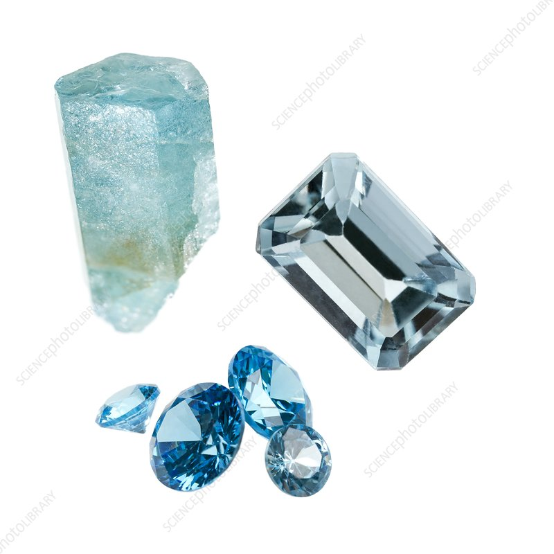 Aquamarine gemstones and crystal