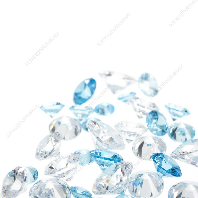 Diamonds and aquamarine gemstones