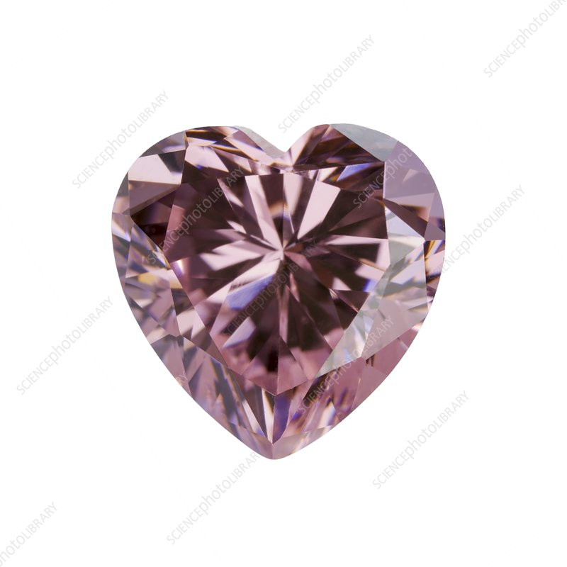 Pink gemstone in the shape of heart