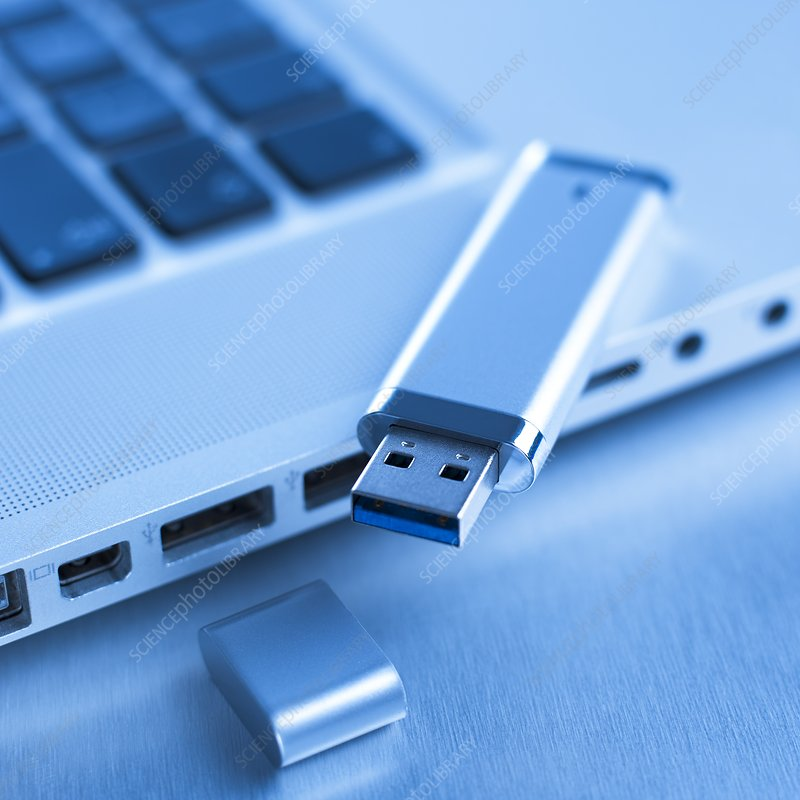 USB memory stick and laptop