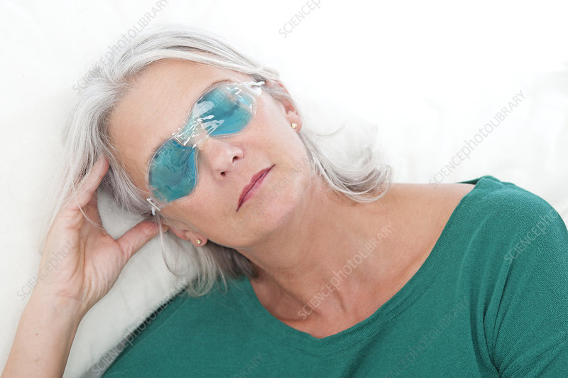 Woman wearing an eye mask