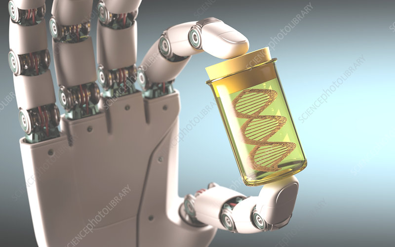 Robotic hand holding test tube with DNA