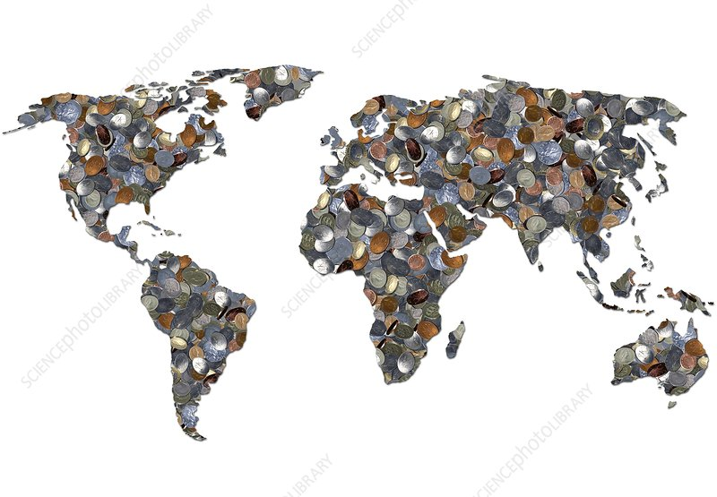 World map made up of coins