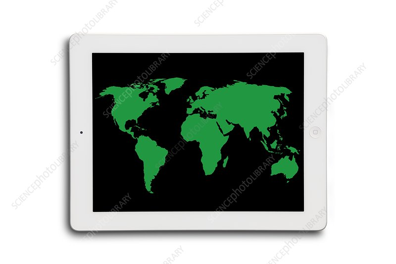 World map on a digital tablet