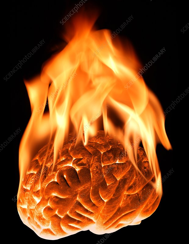 Burning human brain