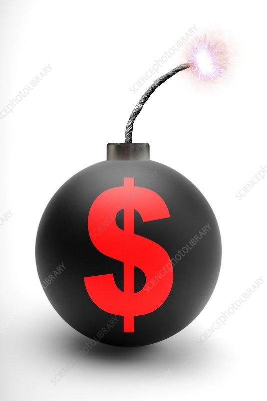 Bomb with US dollar symbol