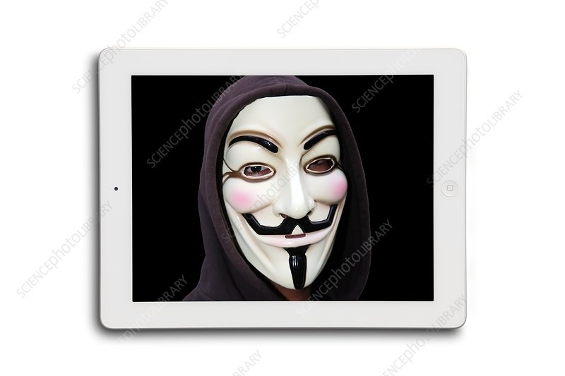 Anonymous mask on digital tablet