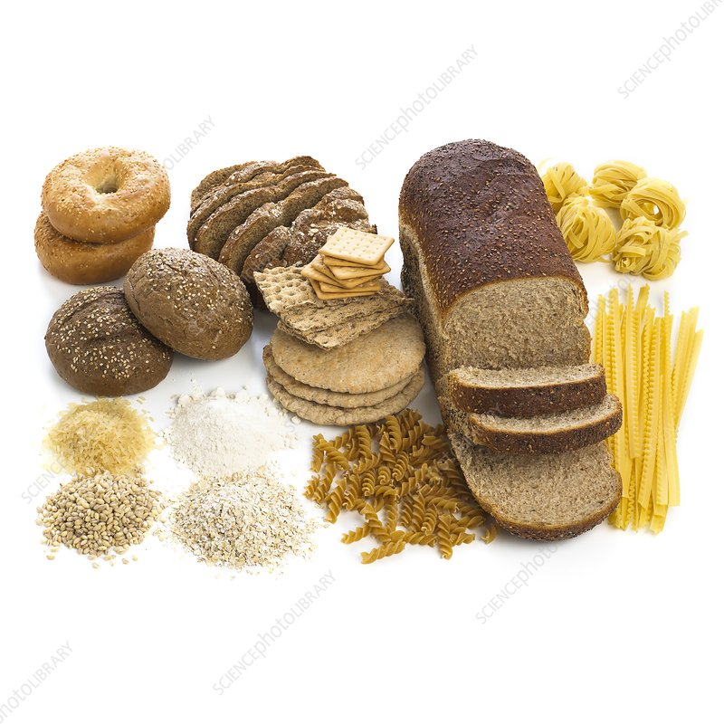 Selection of breads and pastas