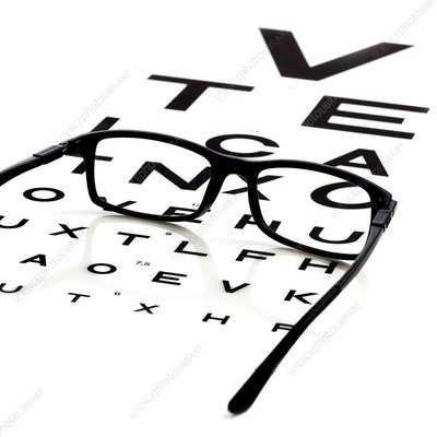 Opticians chart and a pair of glasses