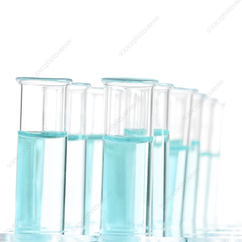 Liquid in test tubes in a rack