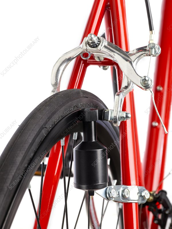 Bicycle dynamo fixed to back wheel