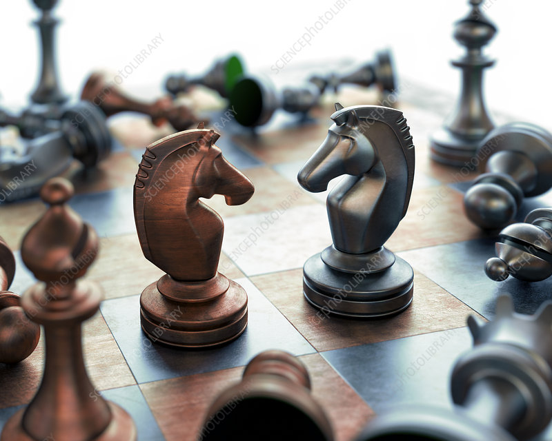 Chess pieces on chess board,