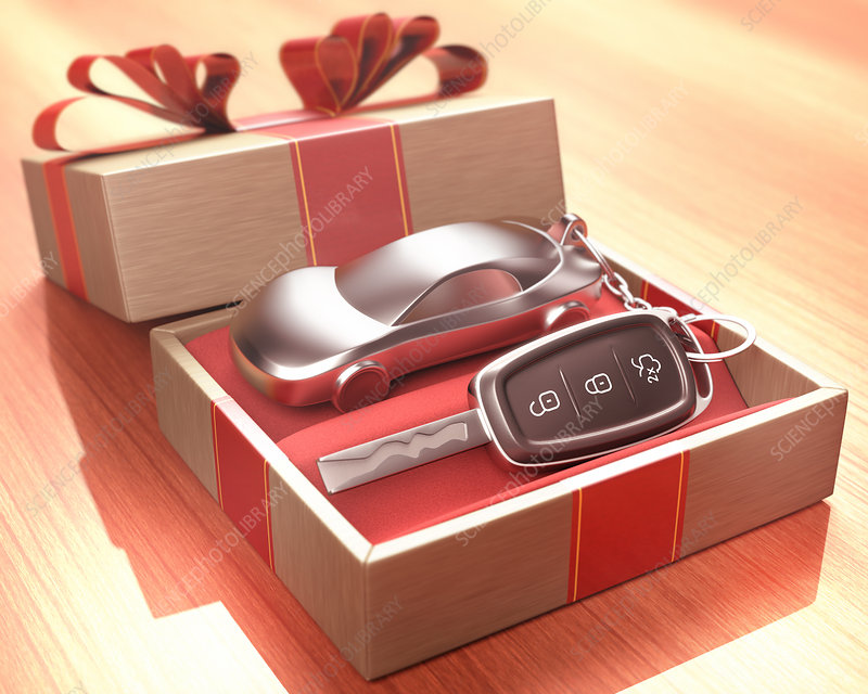 Gift box with car key inside
