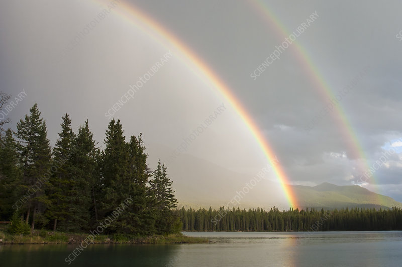 Double rainbow in the sky above calm lake