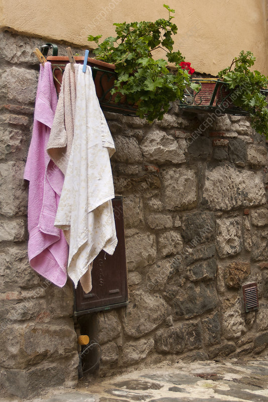 Laundry hanging up for drying