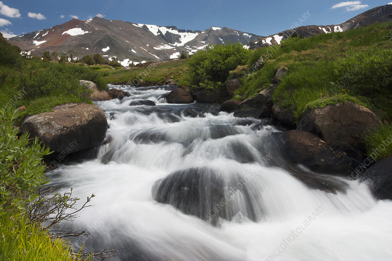 A cascade of fast flowing white water