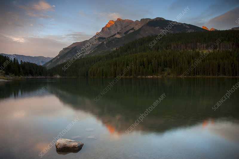 Lake in the Canadian Rockies at sunset