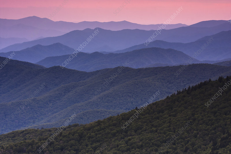 The Great Smoky Mountains at dusk