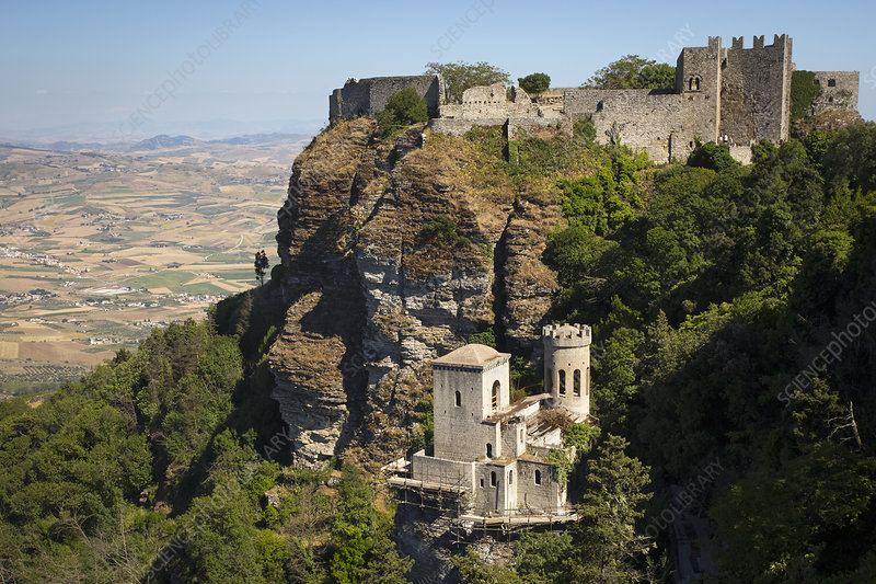 Medieval castle on the hillside in Erice