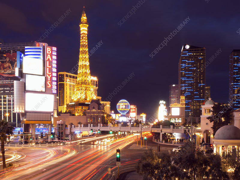 Las Vegas at night, The Strip casinos