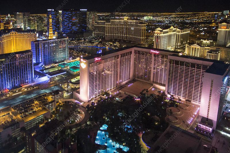 Las Vegas at night, The Strip casinos
