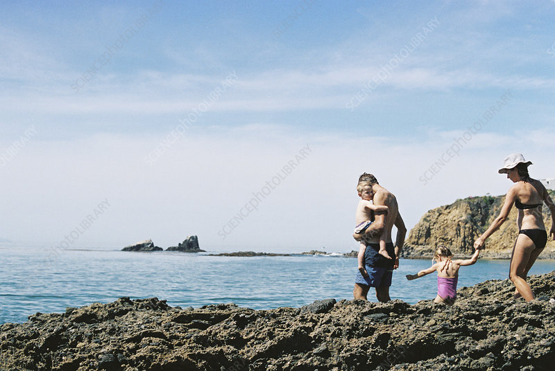 Family walking across rocks on beach