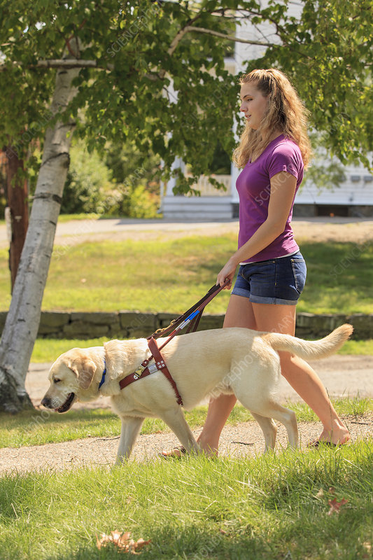 Visually impaired woman with her dog