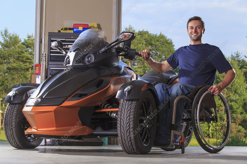 Man with disability with his motorcycle