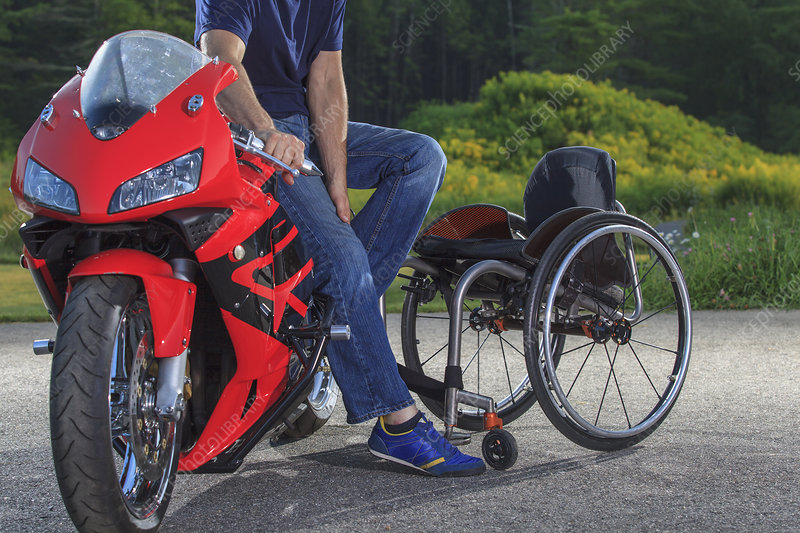 Man with disability on his motorcycle