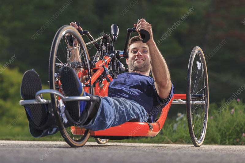 Man with disability on hand cycle