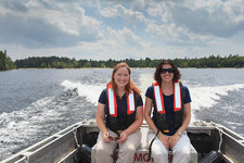 Water quality engineers on survey boat