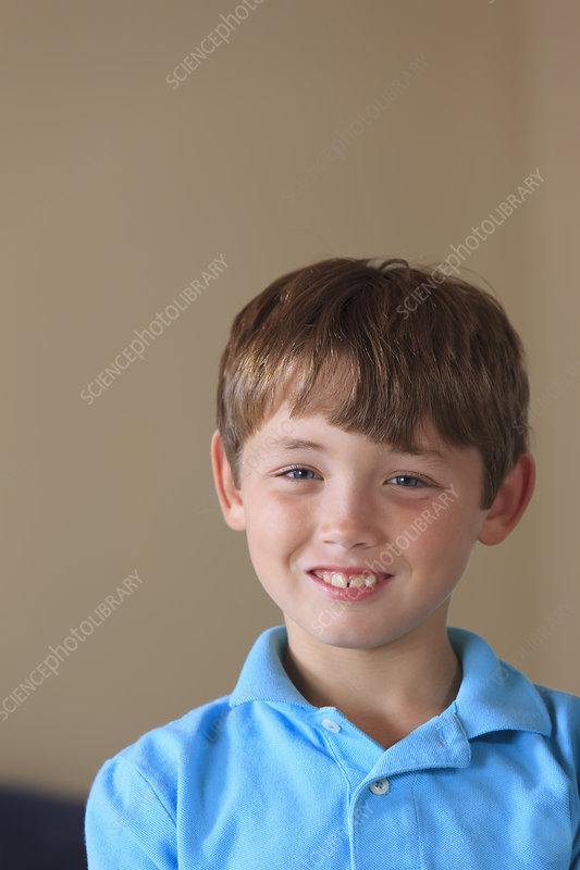 Young boy with hearing impairment