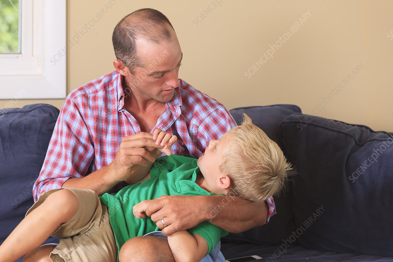 Father and son with hearing impairments
