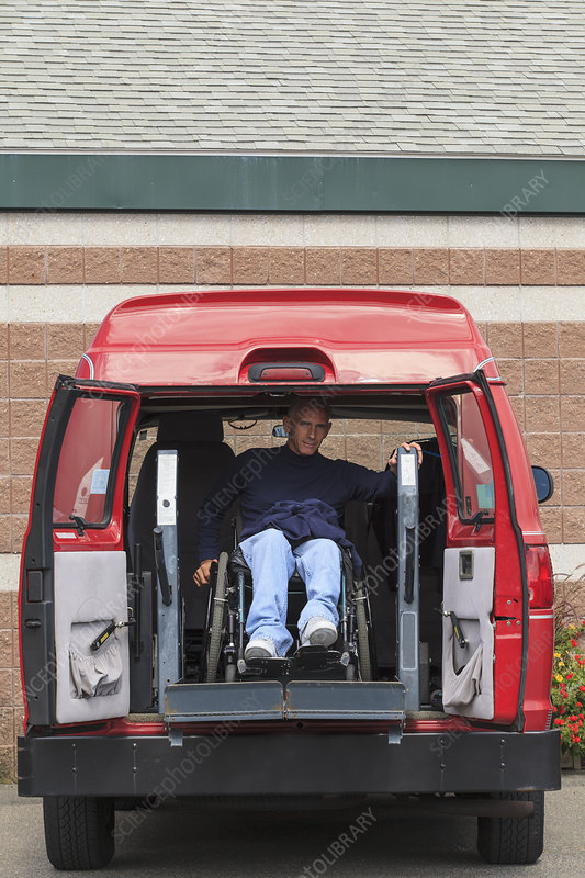 Man with disability exiting from his van
