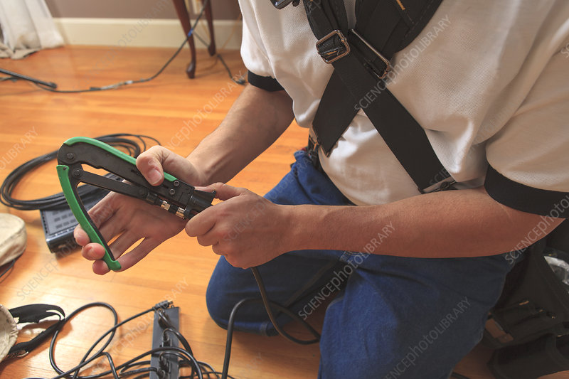 Cable installer using a crimping tool