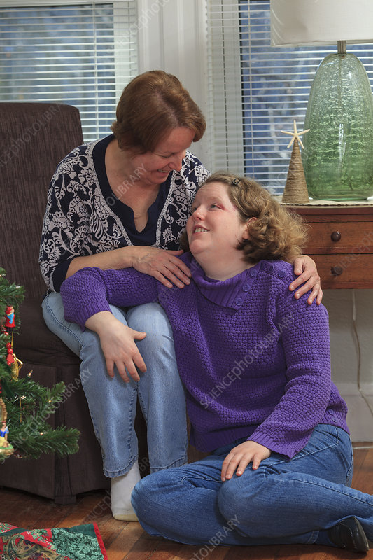 Autistic woman and mother at Christmas