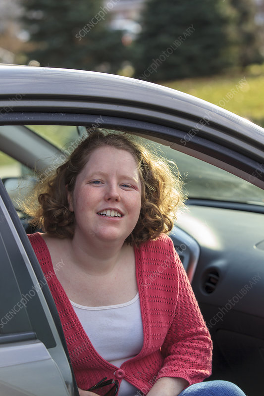 Young woman with Autism in her car
