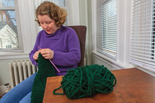 Young woman with Autism knitting