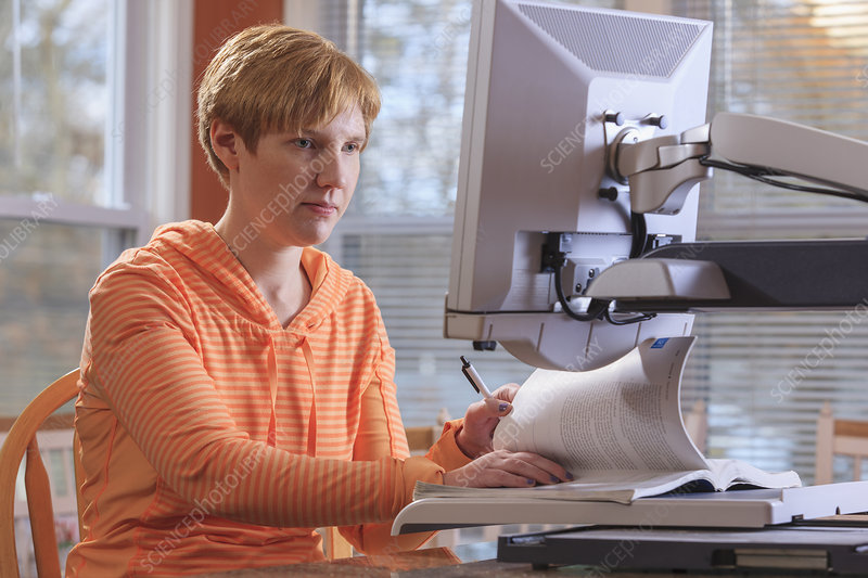 Visually impaired woman at work