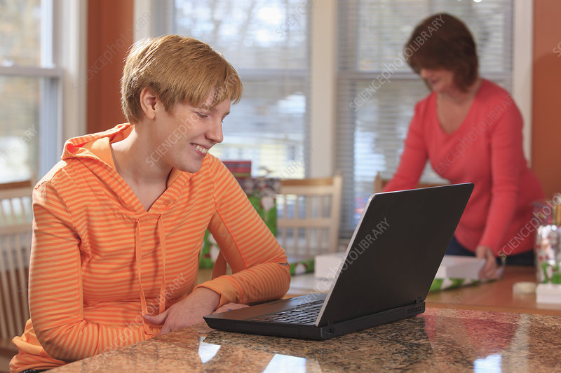 Woman with Cerebral Palsy using laptop
