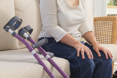 Woman with Cerebral Palsy and crutches
