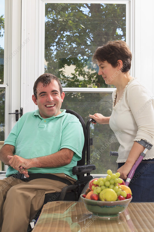 Couple with Cerebral Palsy sitting