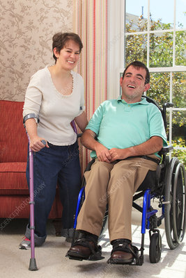 Portrait of a couple with Cerebral Palsy