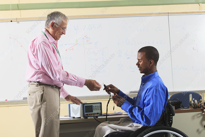 Professor with student in wheelchair