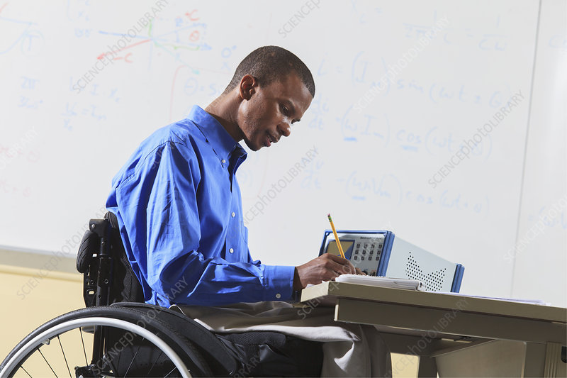 Engineering student in wheelchair