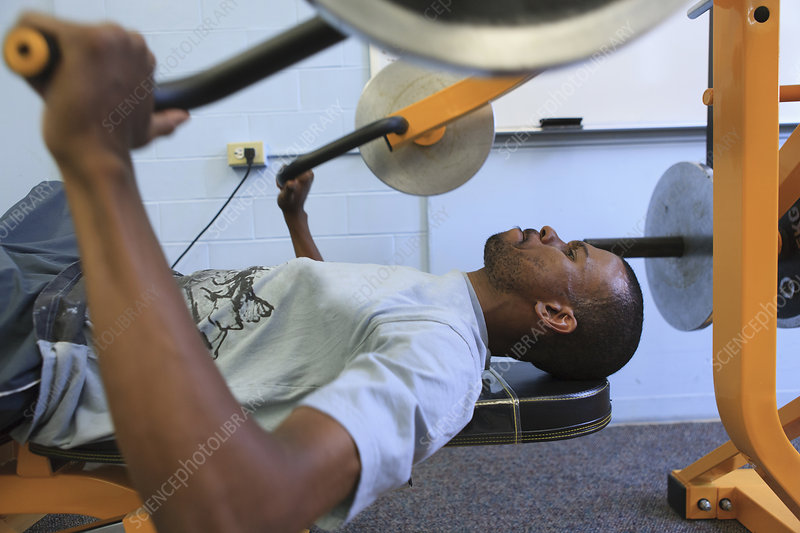 Man who can't walk working out