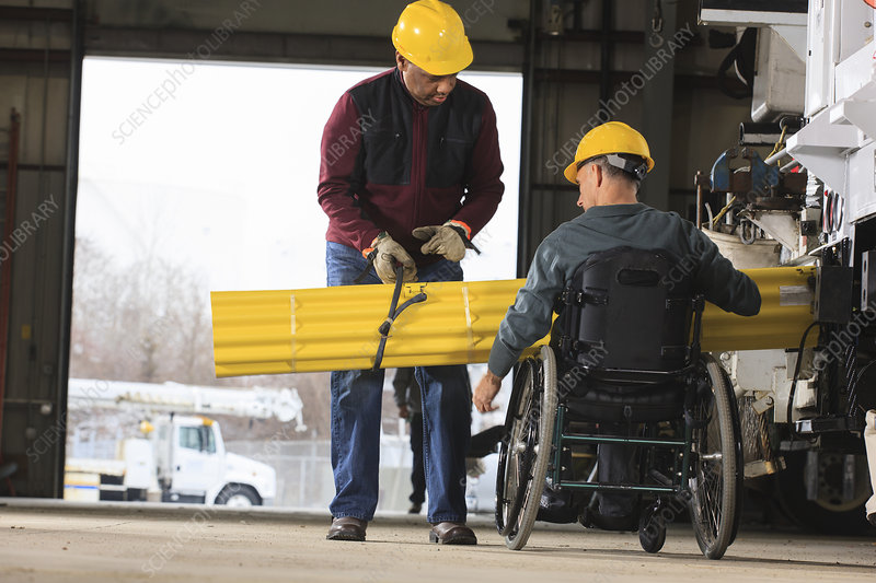 Maintenance supervisor, one in wheelchair